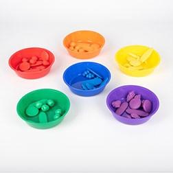 Coloured Sorting Bowls - Pk6