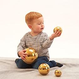 Sensory Reflective Gold Balls - Pk4