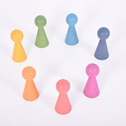 Rainbow Wooden Figures - Pk7