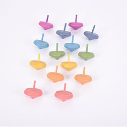 Rainbow Wooden Spinning Tops - Pk14