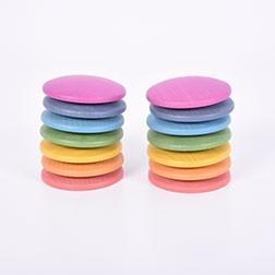 Rainbow Wooden Discs - Pk14