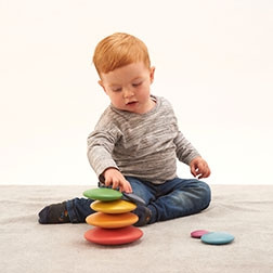 Rainbow Wooden Buttons - Pk7