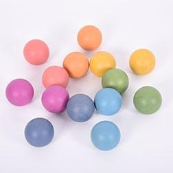 Rainbow Wooden Balls - Pk14