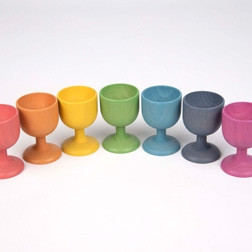 Rainbow Wooden Egg Cups - Pk7