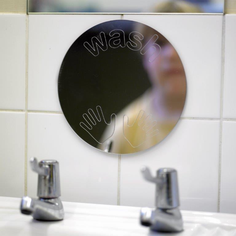 child in mirror